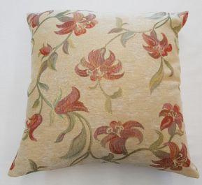 "COPPER RUST HARD WEARING LINEN FLORAL FLOWERS 24"" CUSHION COVERS £11.99 EACH"